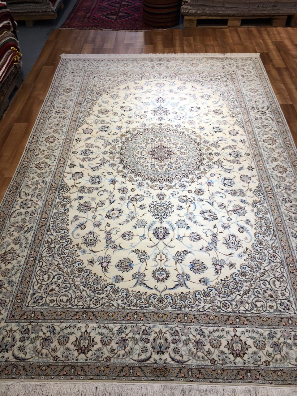 Nain Rug Silk And Wool Traditional Luxurious Blue