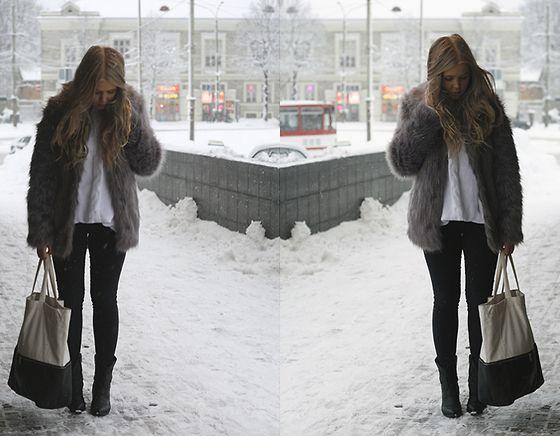 Asos Faux Fur Coat, H&M Bag