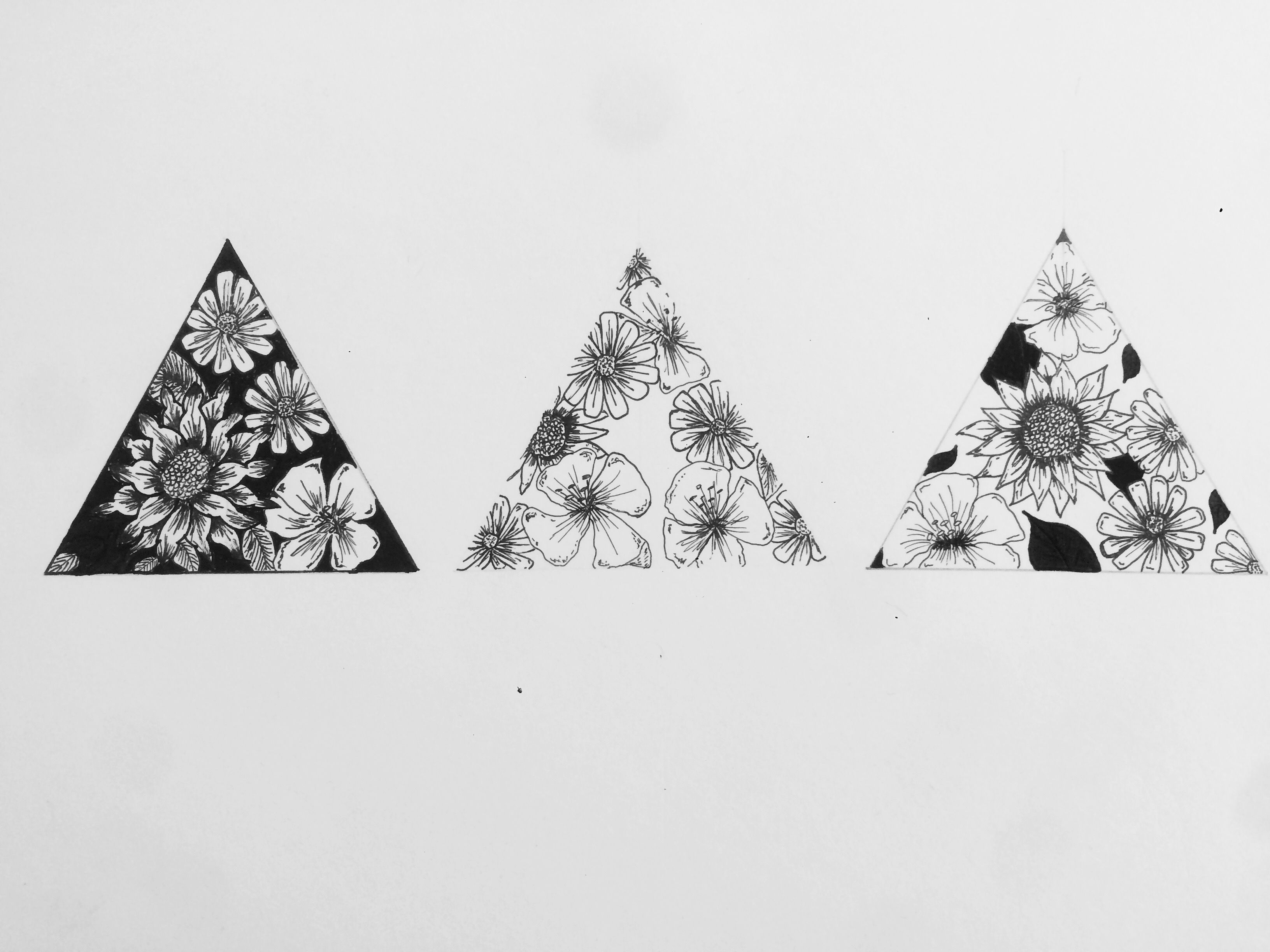 Sunflower Line Drawing : Tattoo drawing geometry blackwork logo flowers triangle