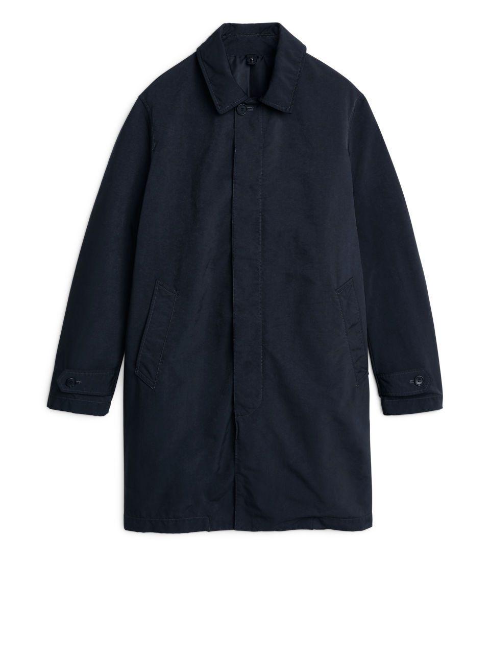 Front image of Arket lightweight topcoat in blue | Jackets