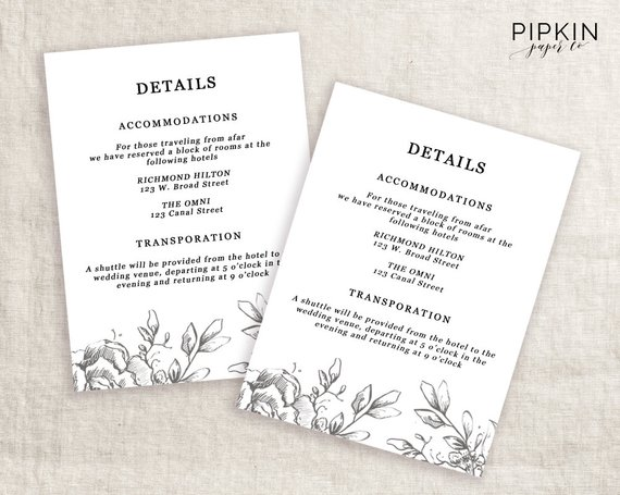 Wedding Details Template Information Card Template