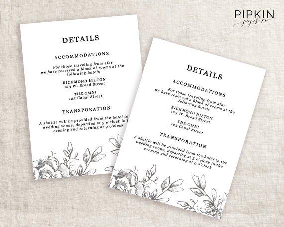Wedding Details Template Information Card Template Wedding