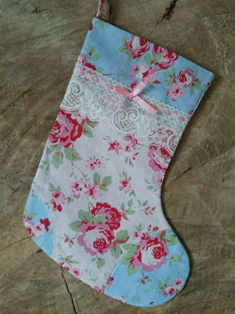 CATH KIDSTON CHRISTMAS STOCKING PERSONALISED VINTAGE LACE GIRL BABY ...