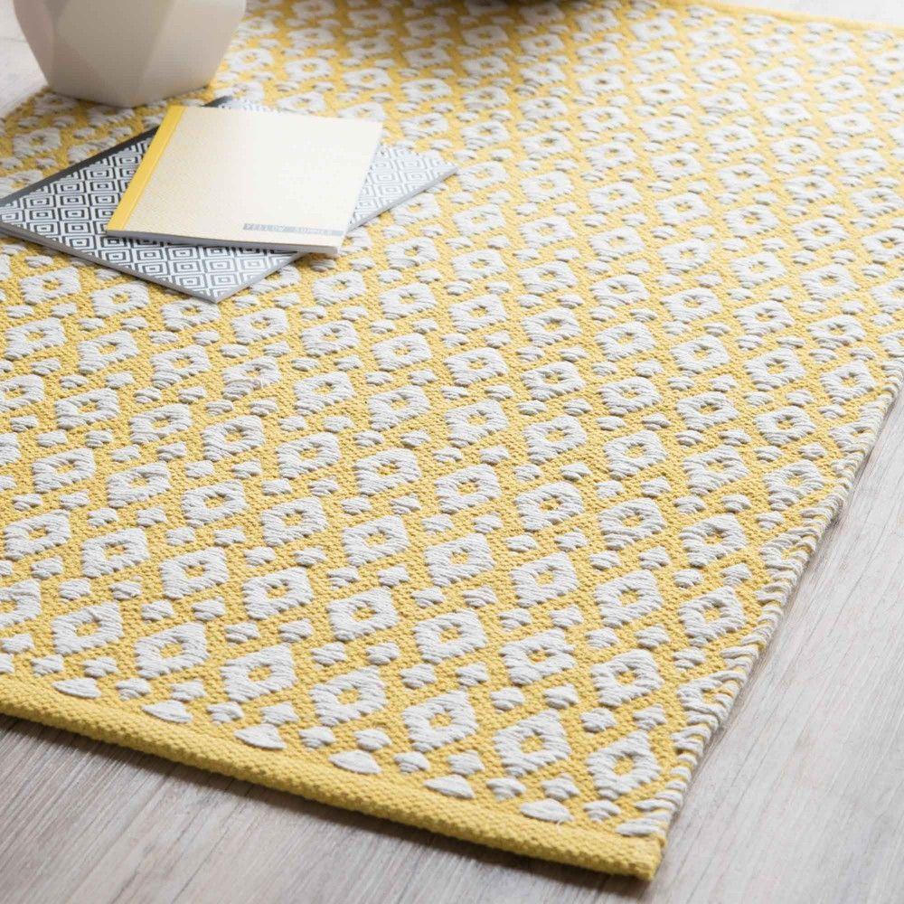 Teppich Aus Baumwolle, Gelb, 60 X 90 Cm
