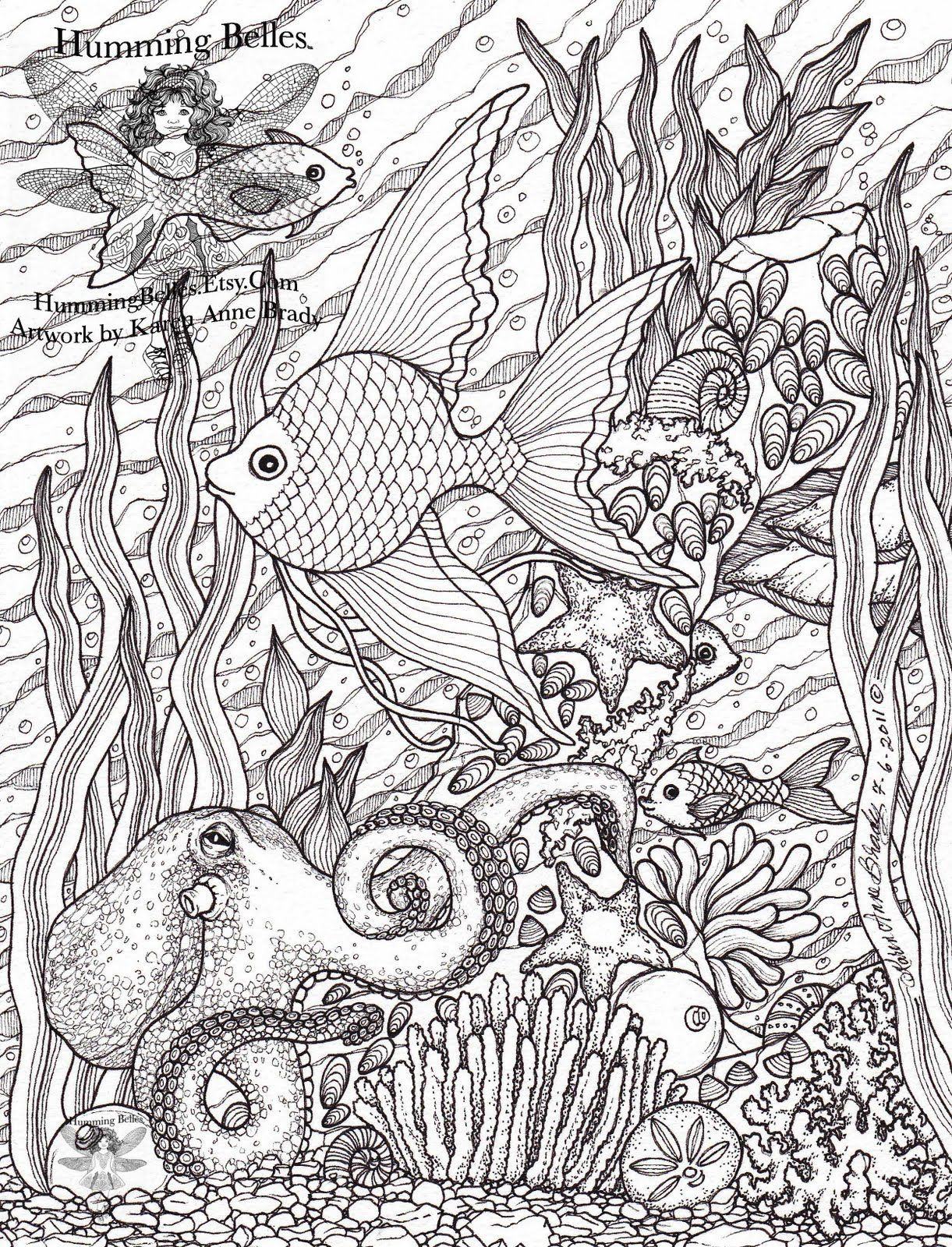 humming belles undersea illustrations and colouring pages - Hard Coloring Pages