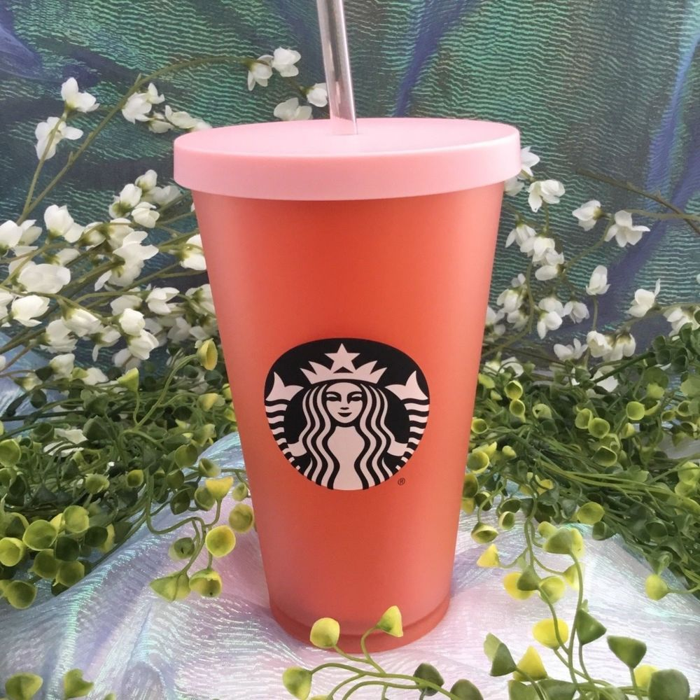fd4c1af23ff Starbucks 2018 Cold Cup Tumbler w Lid & Straw Matte Coral Pink Holiday Cup  NWT #Starbucks