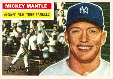 The Trading Card Database 1956 Topps 135 Mickey Mantle Mickey Mantle Old Baseball Cards Baseball Card Values