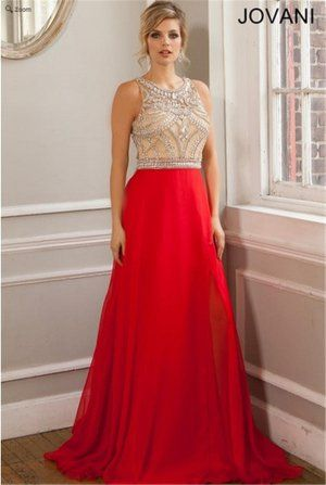Beaded Long Red Jovani 22625 High Neck Prom Dresses 2015 | Debs ...