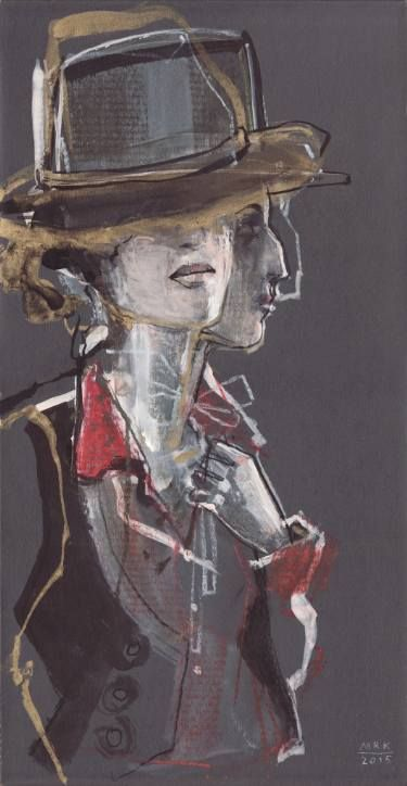 "Saatchi Art Artist: Maria Remedios Kleinschmidt; Drawing:Pastel, Ink, Charcoal, Chalk and Watercolor on Cardboard, ""Old West Twoface"""