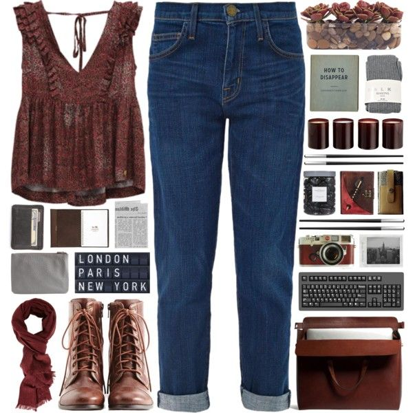 A fashion look from September 2014 featuring Current/Elliott jeans, Falke hosiery and Liz Claiborne ankle booties. Browse and shop related looks.
