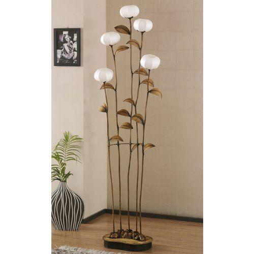 grande lampe salon sensitive 5 branches sur pied papier hanji fleurs asie zen. Black Bedroom Furniture Sets. Home Design Ideas