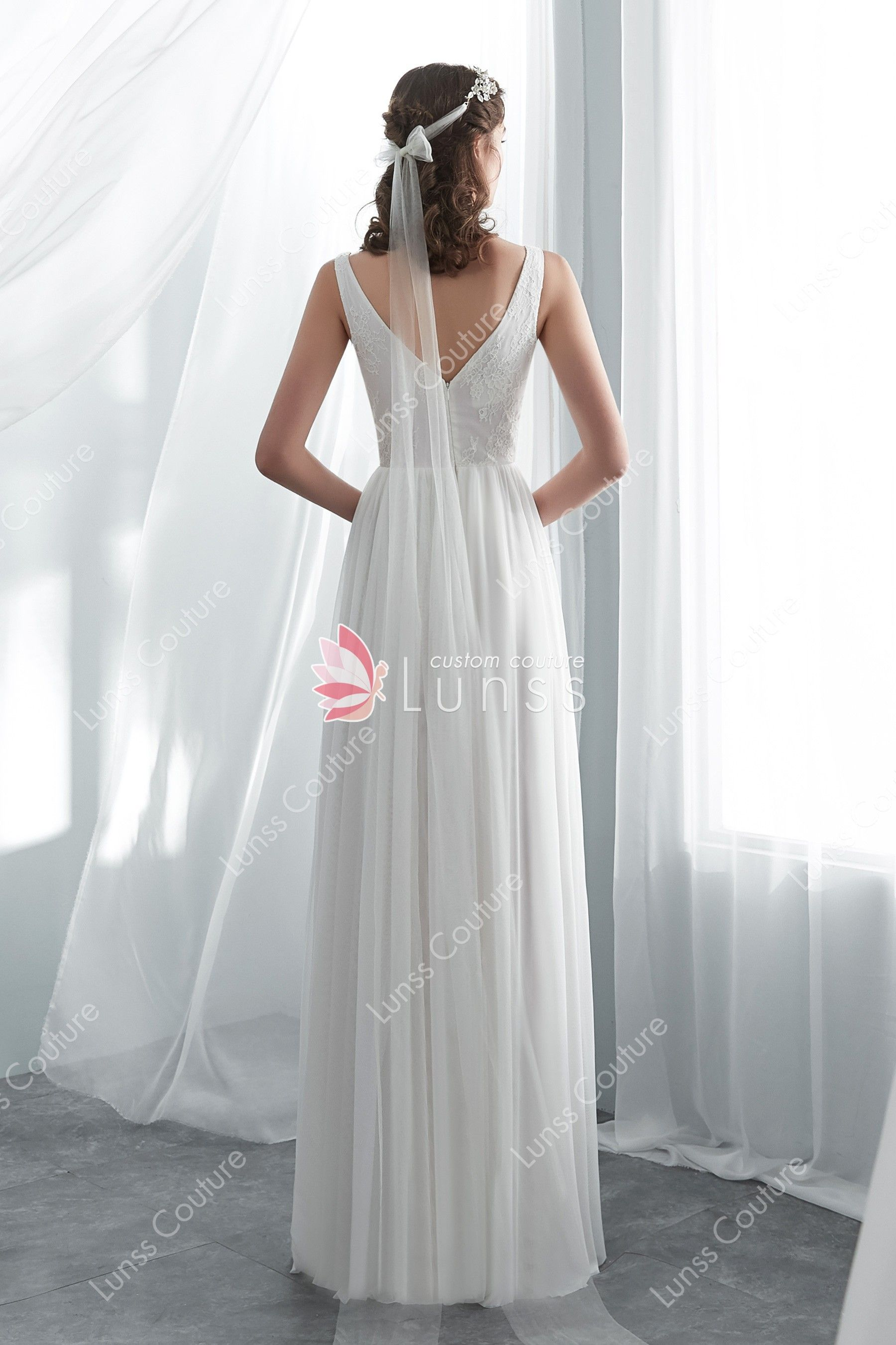 2c9e662695 Ivory Simple Lace Net Beach A-line Wedding Dress ekkor: 2019 ...