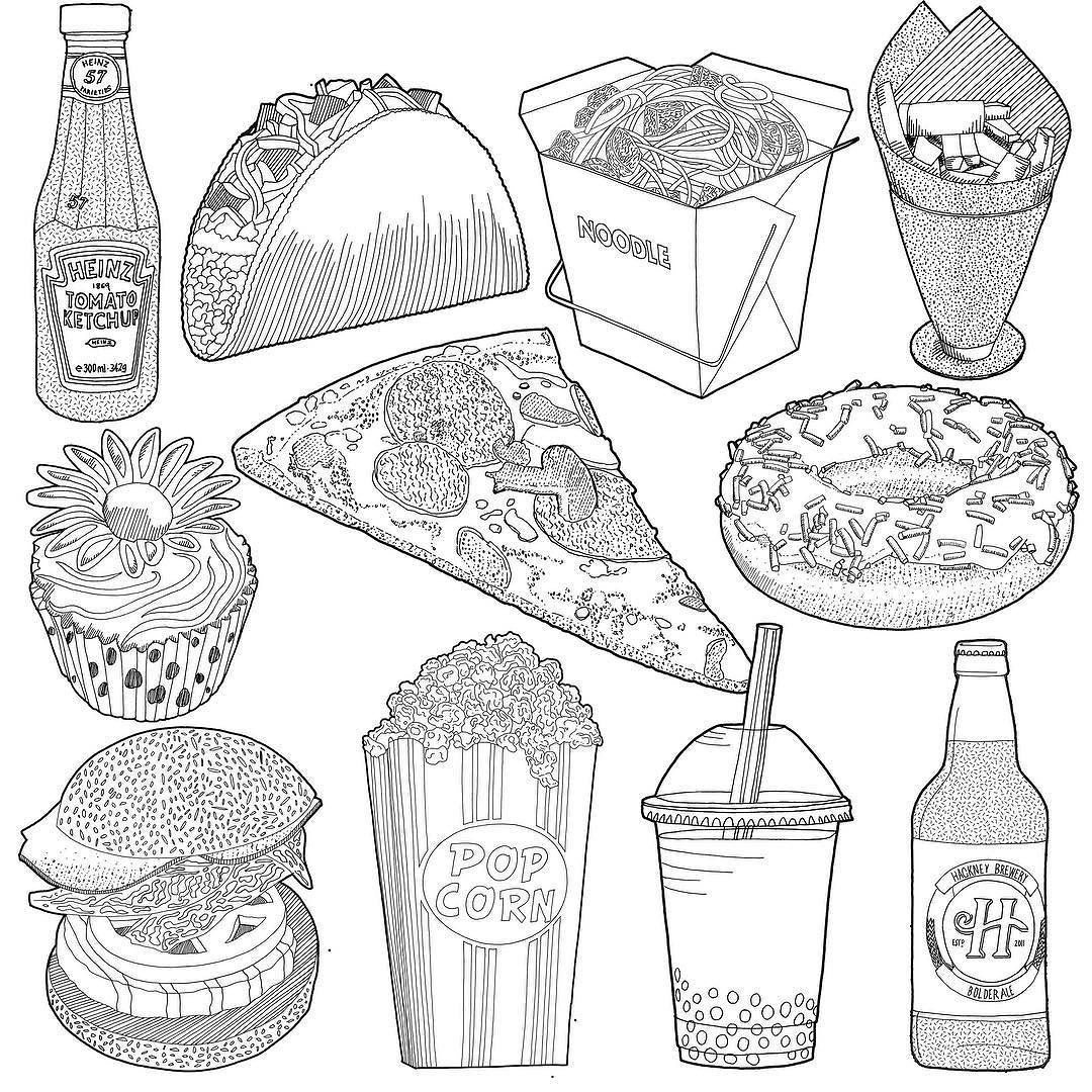 pin by jitesh patel on jitesh patel instagram in 2018 pinterest How Draw Truck a collection of black and white fast food drawing studies carrying on with the collections illustrations