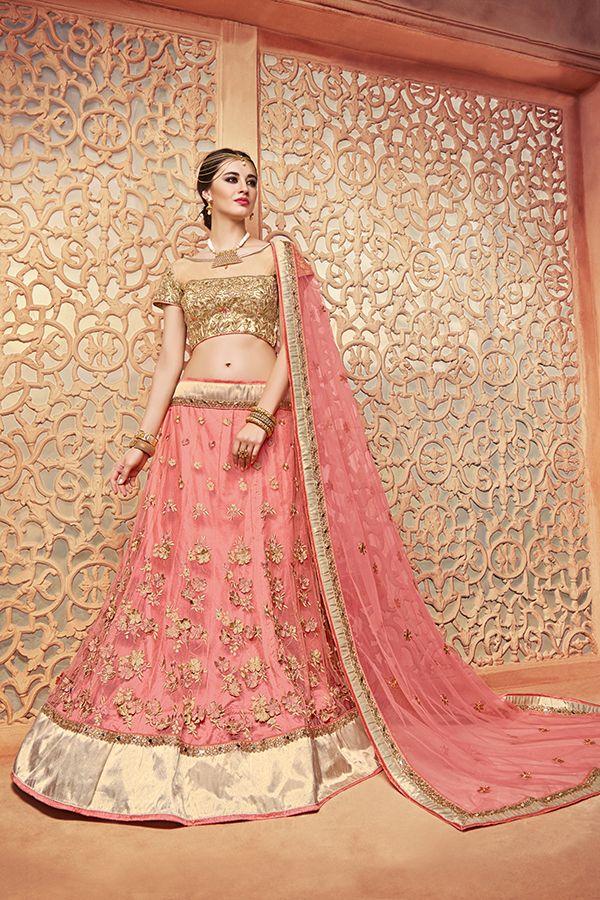 5ea2b8aba3 Rose Pink Color Silk & Butterfly Net Fabric Lehenga Choli.   Indian ...