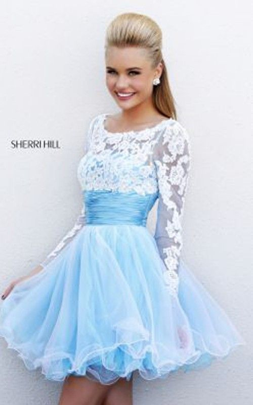 2014 Blue White Sherri Hill 21234 Short Prom Dress Short lace blue dress I  call this a Cinderella fairy tale dress @ Brighter Sides Andersen Raines ...