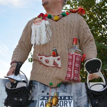 liquor and shot glass holder mens ugly christmas sweater redneck xl crotch - Redneck Christmas Sweaters