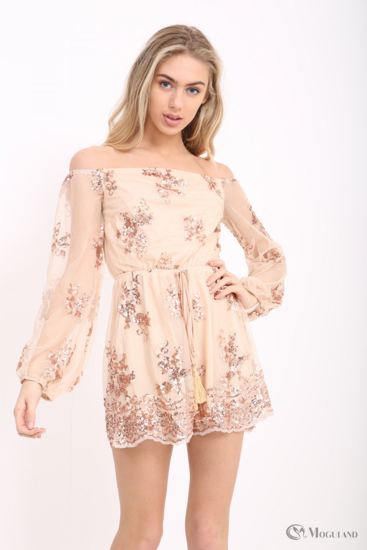 0f1a6b2bb0 apricot rose gold sequin off the shoulder tassle tie playsuit front ...