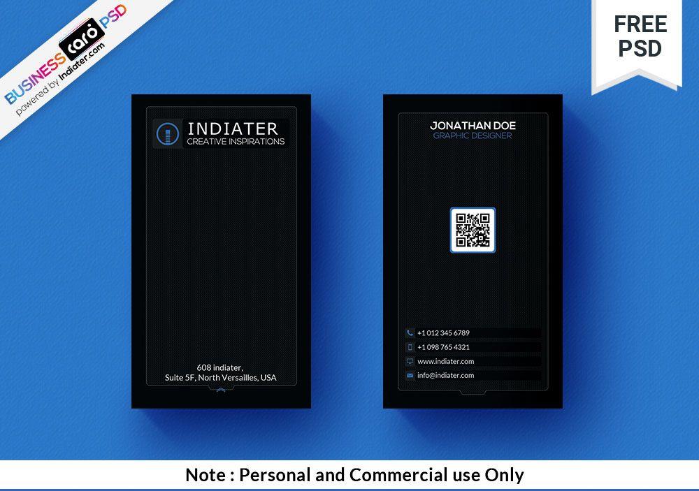 Black minimal vertical qr code business card qr code