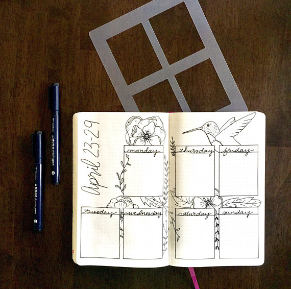 Four Rectangle Weekly Spread Stencil Planner Stencil Fits