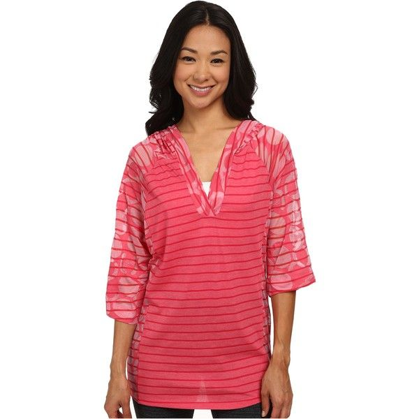 Lole Reggae V-Neck Top Women's T Shirt, Pink ($35) ❤ liked on Polyvore featuring tops, t-shirts, pink, 3/4 sleeve tee, red striped t shirt, red v neck t shirt, hooded t shirt and striped v neck t shirt