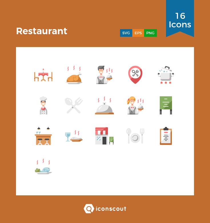 Restaurant Icon Pack 16 Flat Icons Restaurant Icon Icon Flat Icon