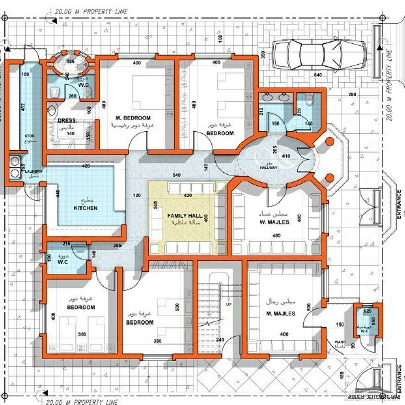 تصميم جميل طابق واحد 4 غرف نوم 1 ماستر مجلس رجال مجلس نساء معيشة Square House Plans Family House Plans Bungalow Floor Plans