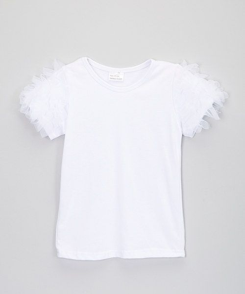 Take a look at the Little Miss Fairytale White Ruffle-Sleeve Top - Infant, Toddler & Girls on #zulily today!