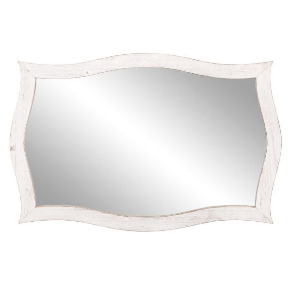 White Distressed Scallop Rectangular Mirror Kirklands Frames On Wall Framed Mirror Wall Accent Mirrors