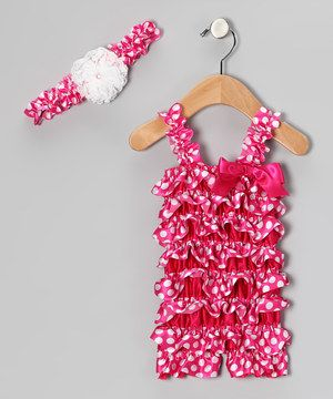 Love this Head over Heels Hot Pink Dot Ruffle Romper & Flower Headband - Infant & Toddler by Head over Heels on #zulily! #zulilyfinds