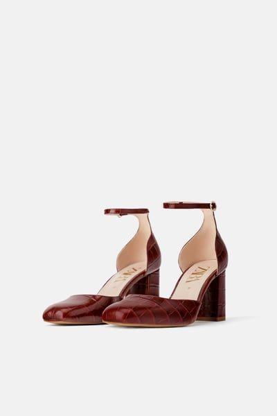 b5d9fc89ead ZARA - Female - Leather animal embossed heeled shoes - Burgundy - 10 ...