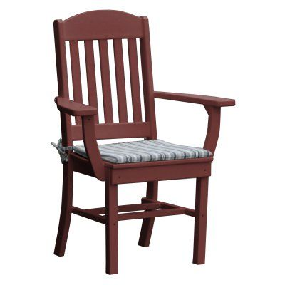 Outdoor Radionic Hi Tech Rochester Recycled Plastic Patio Dining Arm Chair Cherry Wood - AL_CH_36651_CW, Durable