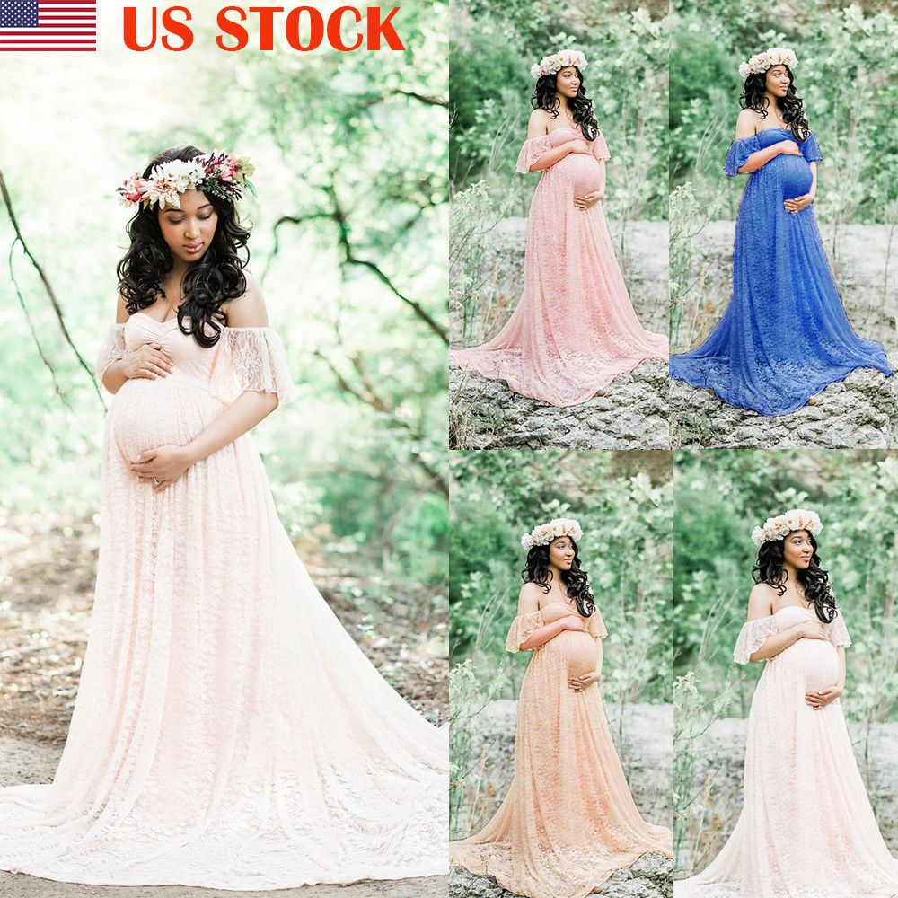 Lace dress for pregnant  Dresses  Us Pregnant Women Lace Maxi Long Dress Maternity Gown