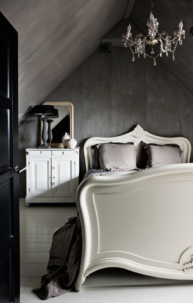 deep concrete grey industrially inspired walls paired