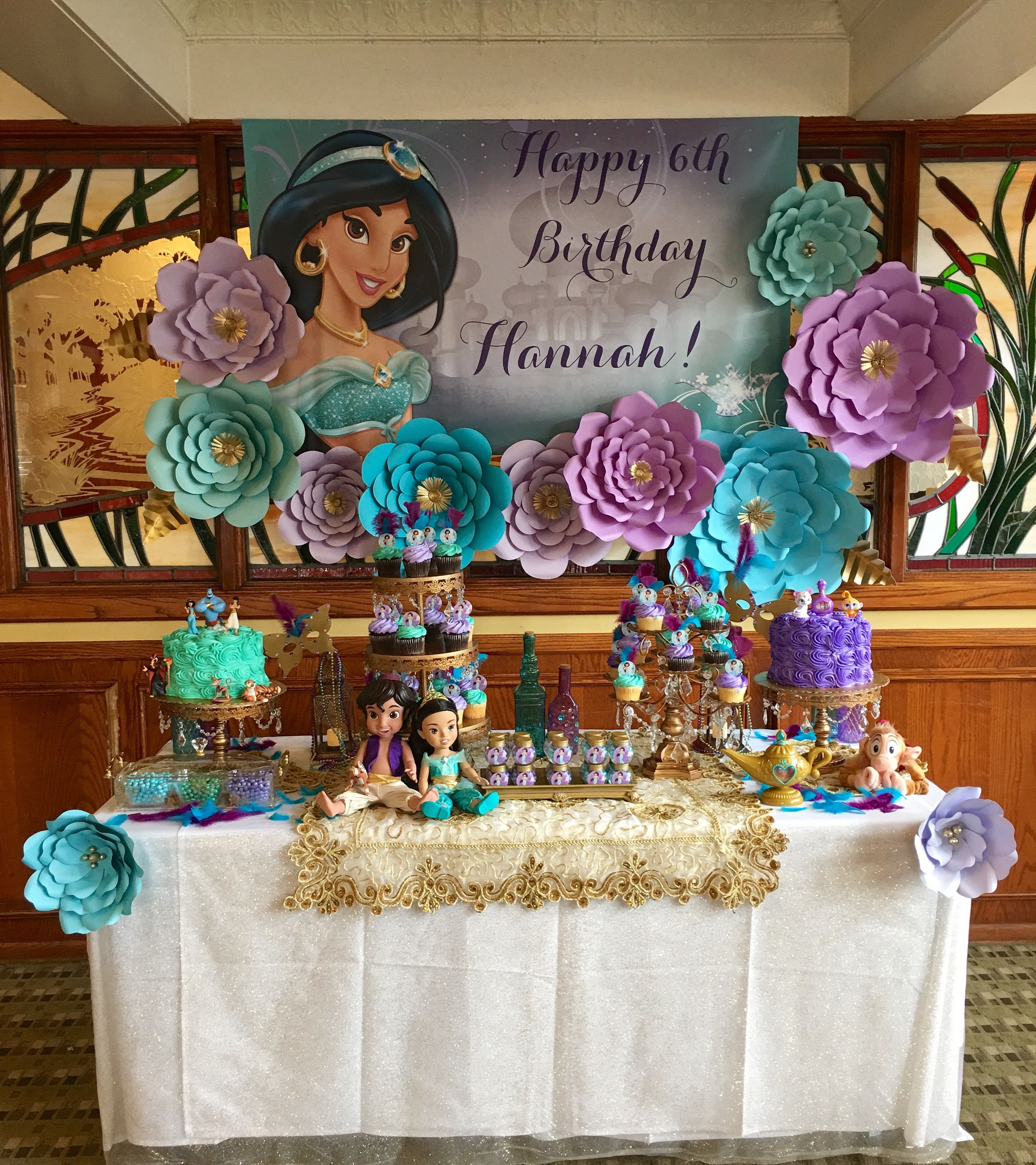 Aladdin inspired birthday party desserts table using