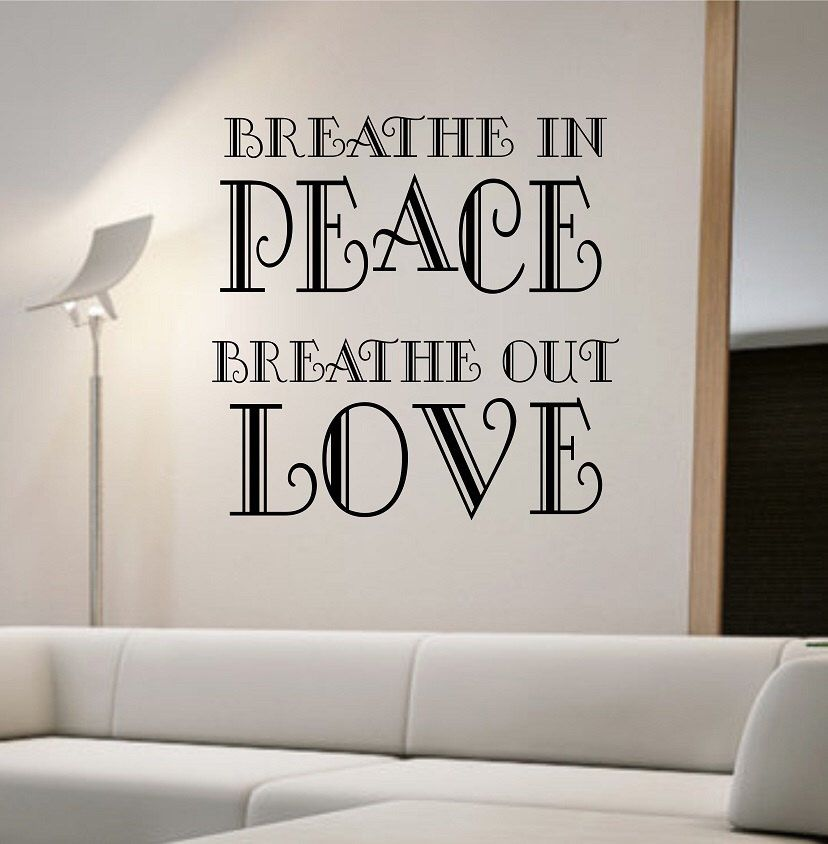 Breathe in Peace Quote Vinyl Wall Decal