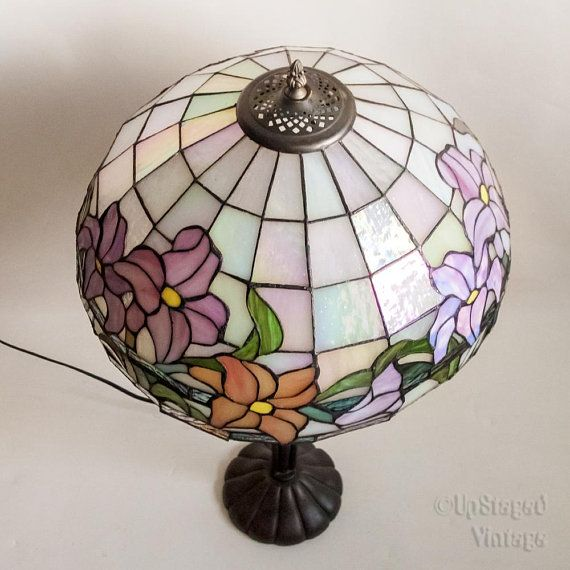 vintage 1980s 90s large tiffany style lamp in pearlescent stained rh pinterest com