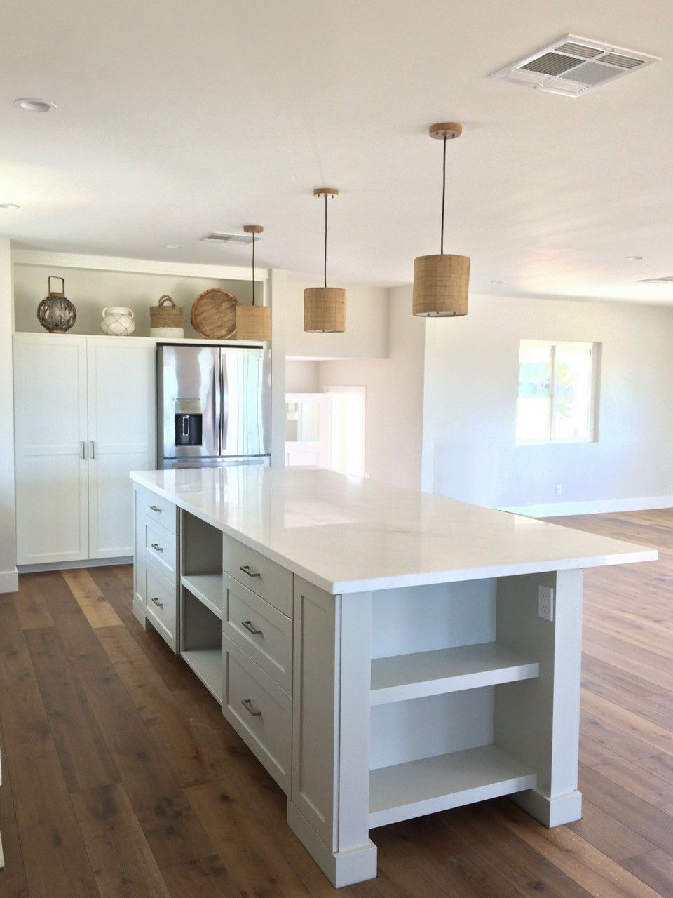 great room kitchen open concept with large island white and gray rh in pinterest com