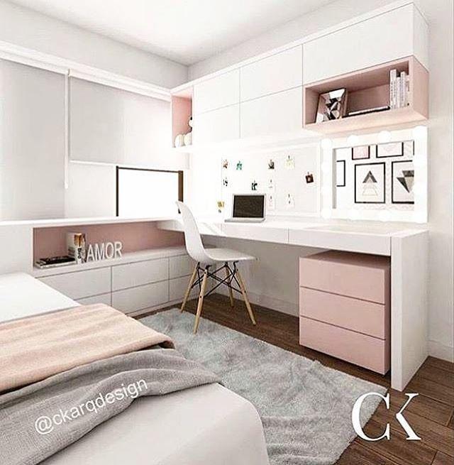 PARA TUDO pra essa cozinha! Que combinação linda de dourado, rosa e preto #girlsbedroom