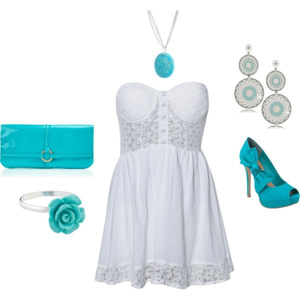 White and turquoise, created by paulette-lanni on Polyvore