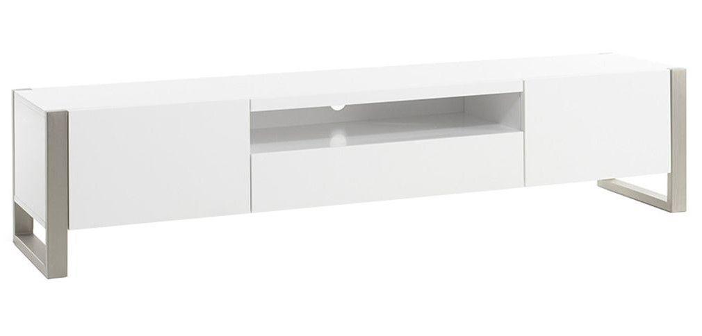 Meuble Tv Design Magna Avec Rangements Blanc Laque Et Metal Pas Cher Meuble Tv Miliboo Meuble Tv Design Meuble Tv Tv Design
