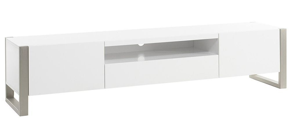 Meuble Tv Design Magna Avec Rangements Blanc Laque Et Metal Pas Cher Meuble Tv Miliboo Iziva Com Meuble Tv Design Tv Design Meuble Tv