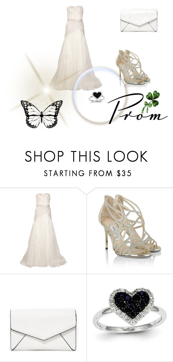 """White Wedding Dress"" by sheneeza-101 ❤ liked on Polyvore featuring Lela Rose, Jimmy Choo, LULUS and Kevin Jewelers"