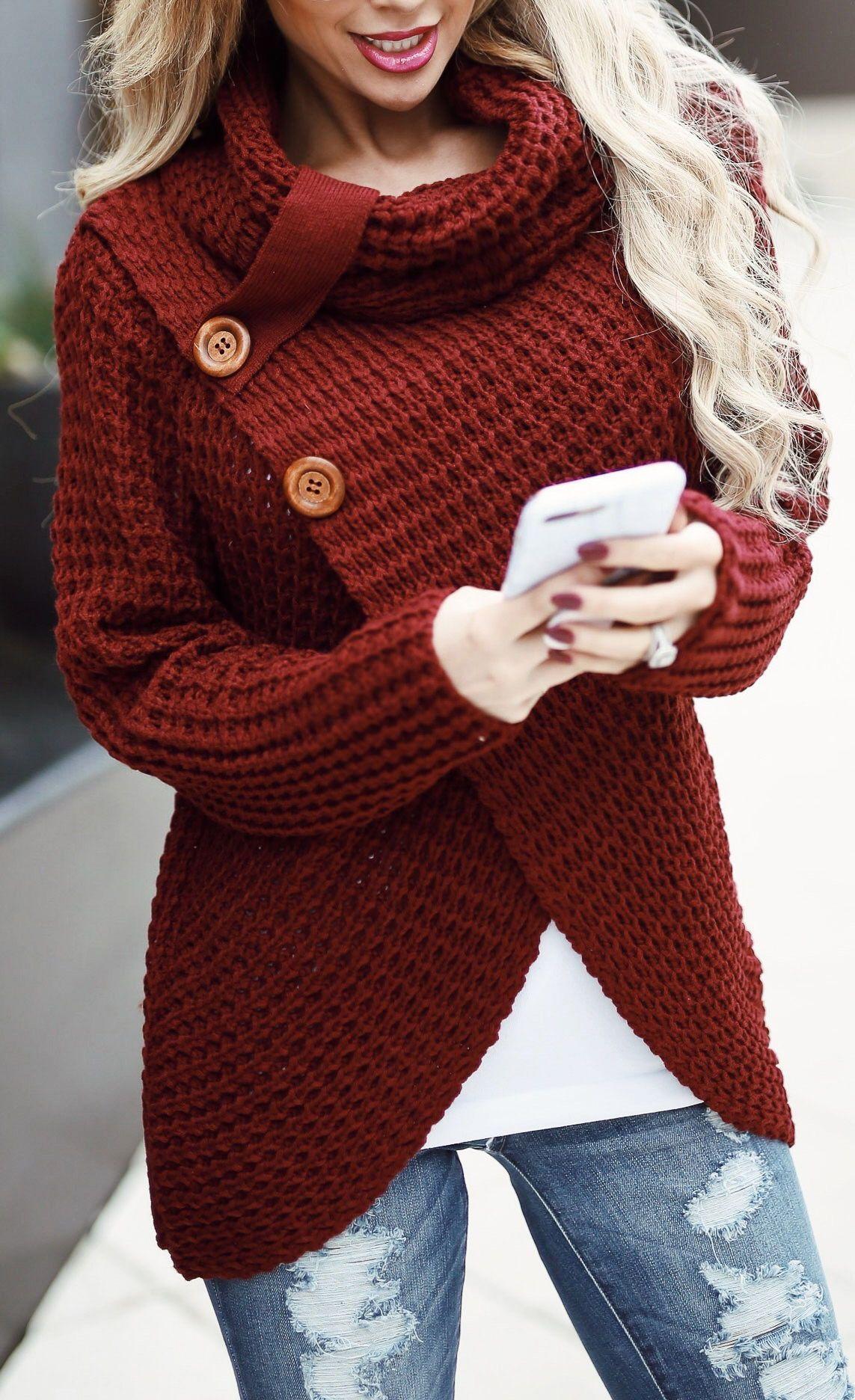 af7de23b54  42.99 Chicnico Casual Long Sleeve Front Cross Sweater
