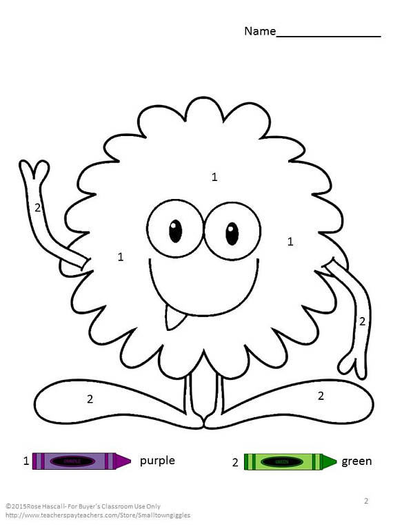 Monster Color By Number Color Recognition Number Etsy In 2021 Special Education Math Special Education Kindergarten Special Education