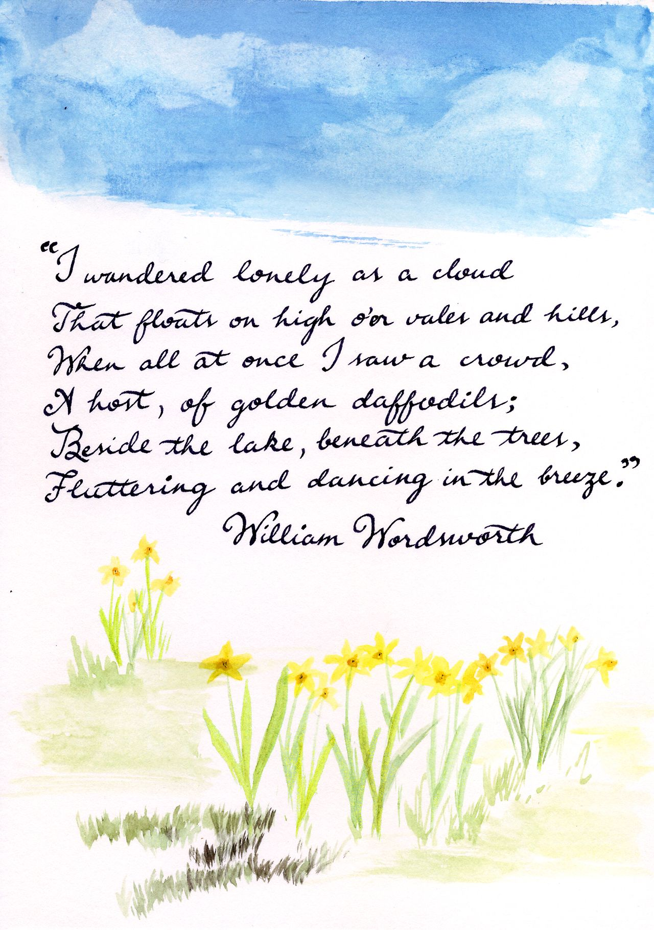 William Wordsworth I Wandered Lonely A Cloud That Float On High O Er Vale And Hill W Illustration Quote Theme Of