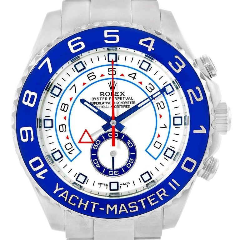Rolex Yachtmaster Ii Stainless Steel Blue Bezel Men's Watch 116680 #rolexwatches