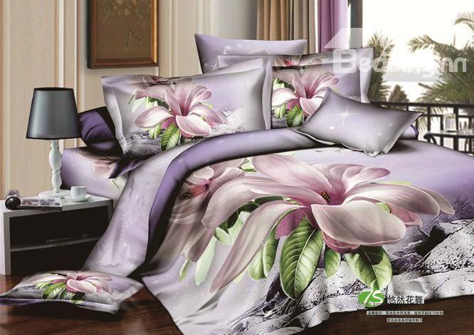 85 19 Light Purple Lilac Orchid Big Flower Print 4 Piece Bedding Sets Duvet Cover Sets Duvet Cover Sets Bedding Sets 3d Bedding Sets