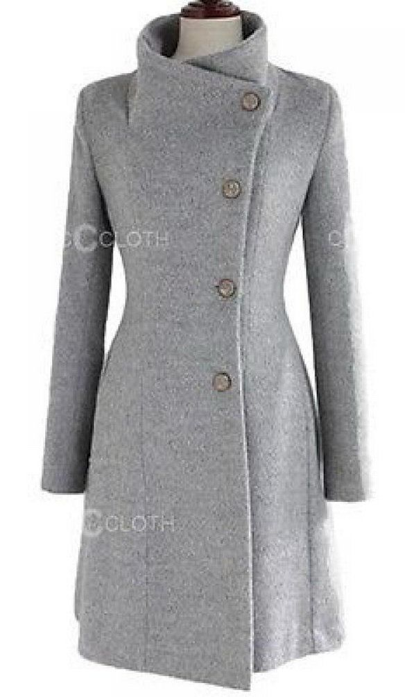 HKJIEVSHOP Vintage Party Ladies Upright Collar Belted Coat