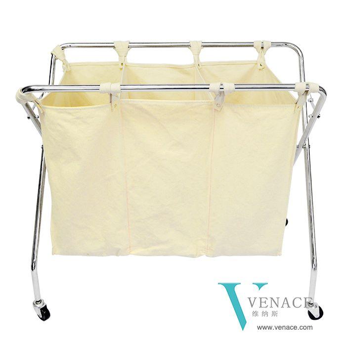 Laundry Rolling Compartment Folding Laundry Hamper Cart 16 Oz 100