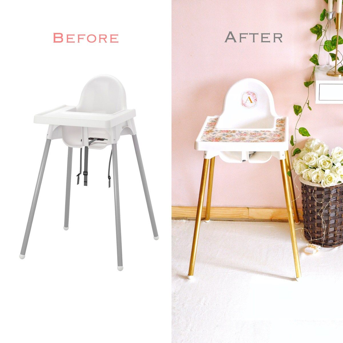 Ikea Antilop Baby Chair Makeover In 2020 Chair Makeover Ikea High Chair Baby Chair